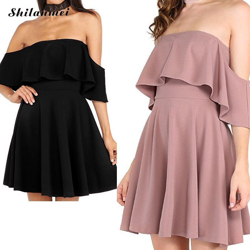 shilaanmei fashion boho dress black Off The Shoulder Ruffle Tie Waist Short Sleeve Knee Length Dress Ladies Summer Dress