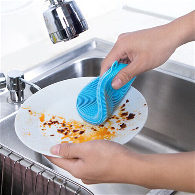 Silicone Magic Cleaning Brush Dishcloth Bowl  Wash Pot Brush Easy To Cleaning Kitchen supplies Color Ramdon