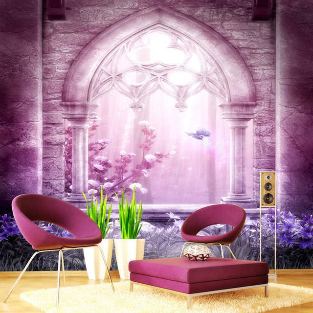 Fashion Wallpaper Wall Mural Large Silk Photo Dreamy Purple Room Decor Kid S Art Bedroom Nursery