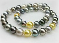 10 12mm AAA natural round peacock green multicolor pearl necklace 18inch