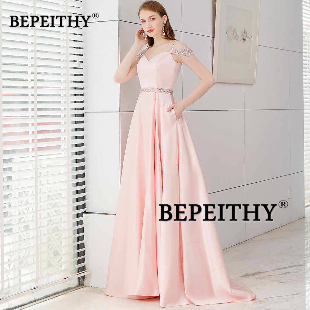 7078857baf9 ... Simple But Elegant Long Evening Dress Crystal Blet Vestido De Festa  2019 New Arrival Vintage Prom ...