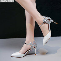 sexy high heels ladies Shoes two piece summer Women Pumps poined toe genuine leather Office Shoes woman