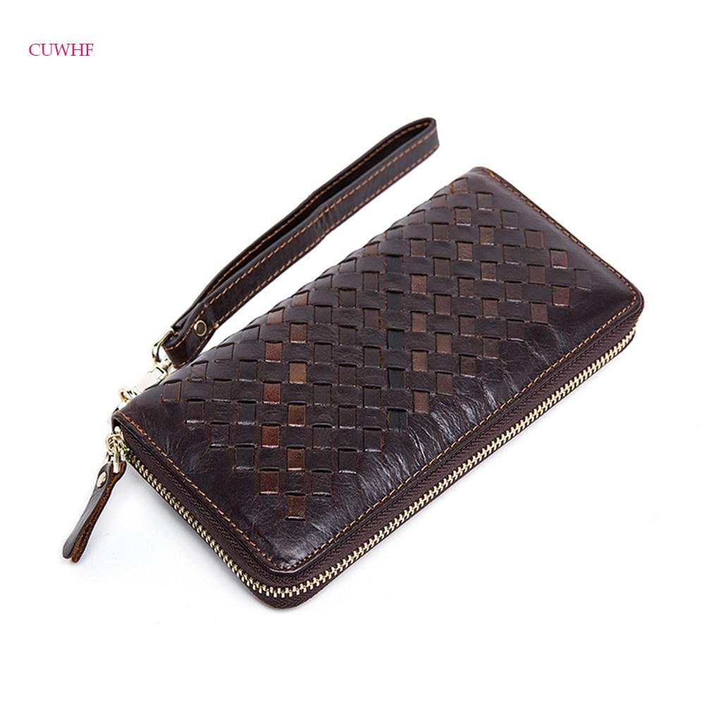 New Casual woven pattern leather men's wallet men's business clutch bag long zipper men wallet large-capacity leather wallets