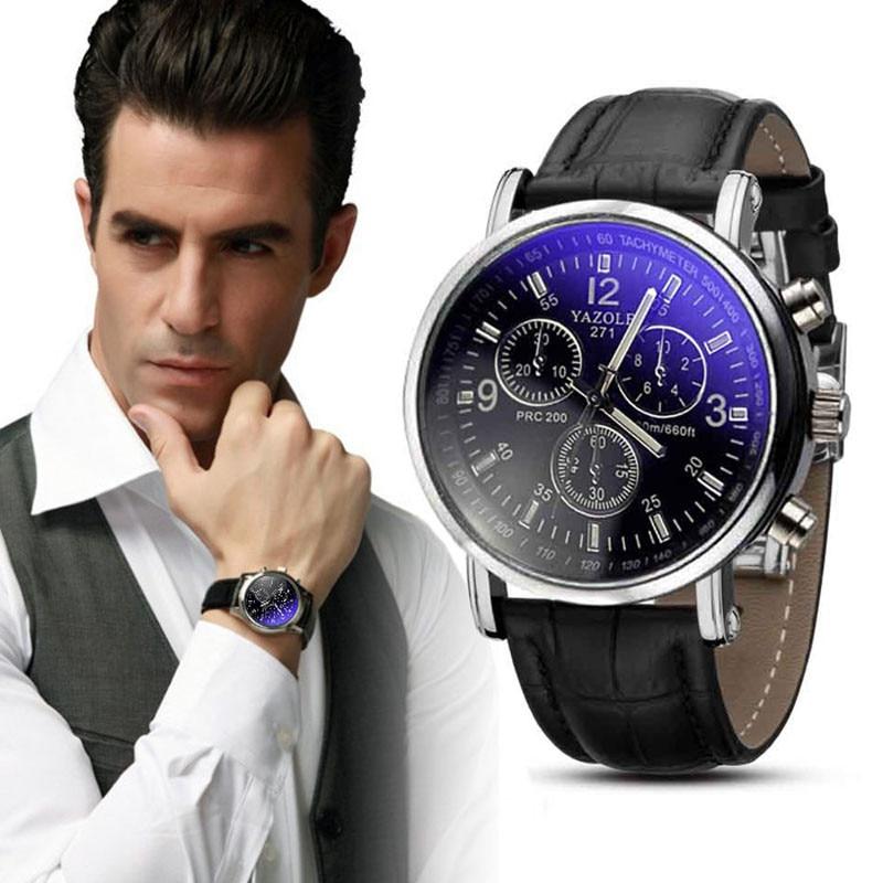 2019 Men Leather Watch Luxury Classic Wrist Watch Fashion Casual Blue Glass Quartz Wristwatch Clock Women Watches Reloj Mujer