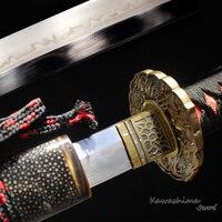 41 дюйма ручной японский меч катана T10 Сталь обкладка глиной реального Хамон Rayskin нож с ножнами резкость готов к бою