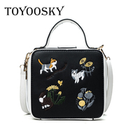 TOYOOSKY Fashion cute cartoon design embroidery animal prints box bag ladies handbag shoulder bag messenger bag purse Drop ship