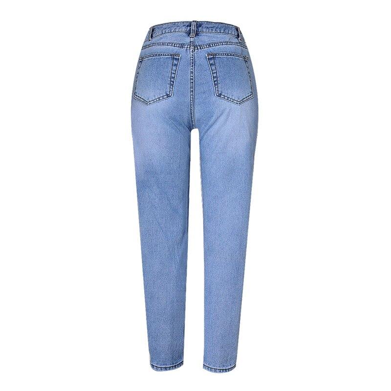 Alta Azul Longitud Lavado Xk073 Mujeres Cintura Completa Femenina Calle Rectos Floja Bordado Jeans Vaqueros Tiempo De Futuro aAwWEqaT