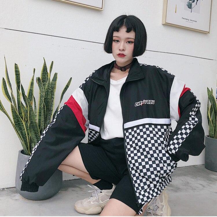 d40f20fa4597  5411 Summer Sunscreen Clothes Women Korean Girl Thin Loose Coat School  Harajuku Baseball Hip Hop Jacket Streetwear Pattern Tide