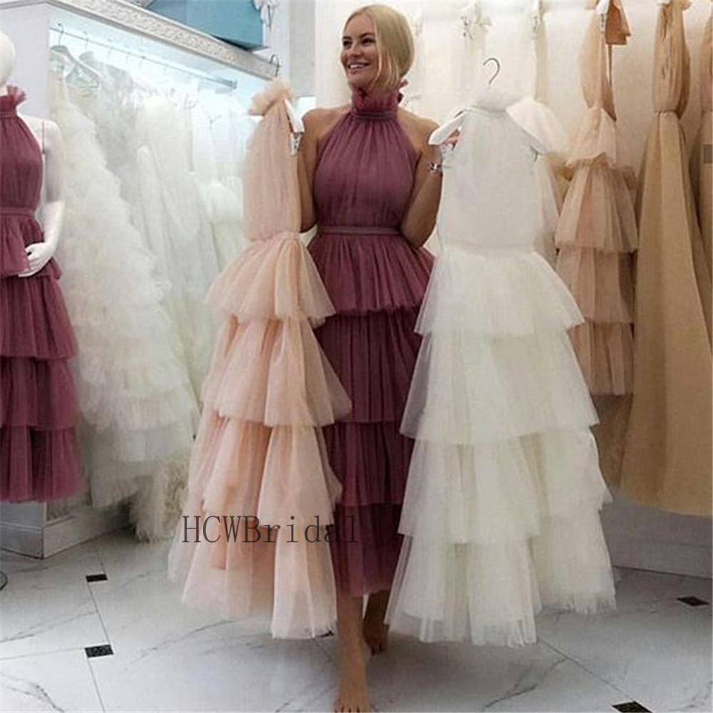 2019 New Tiered Tulle Long Evening Dress High Neck A Line Tea Length High Quality Formal Prom Gowns Cheap Women Party Dresses-in Evening Dresses from Weddings & Events
