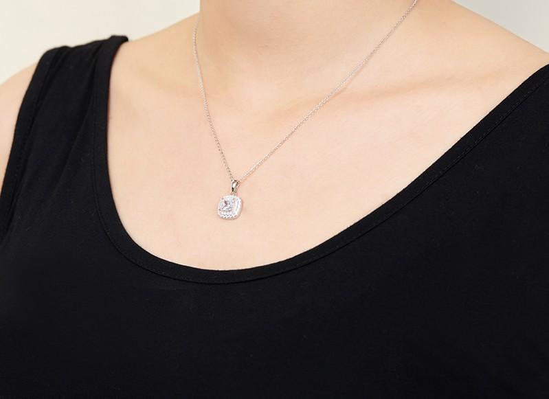 square shape silver pendant necklacesDP31910A (8)