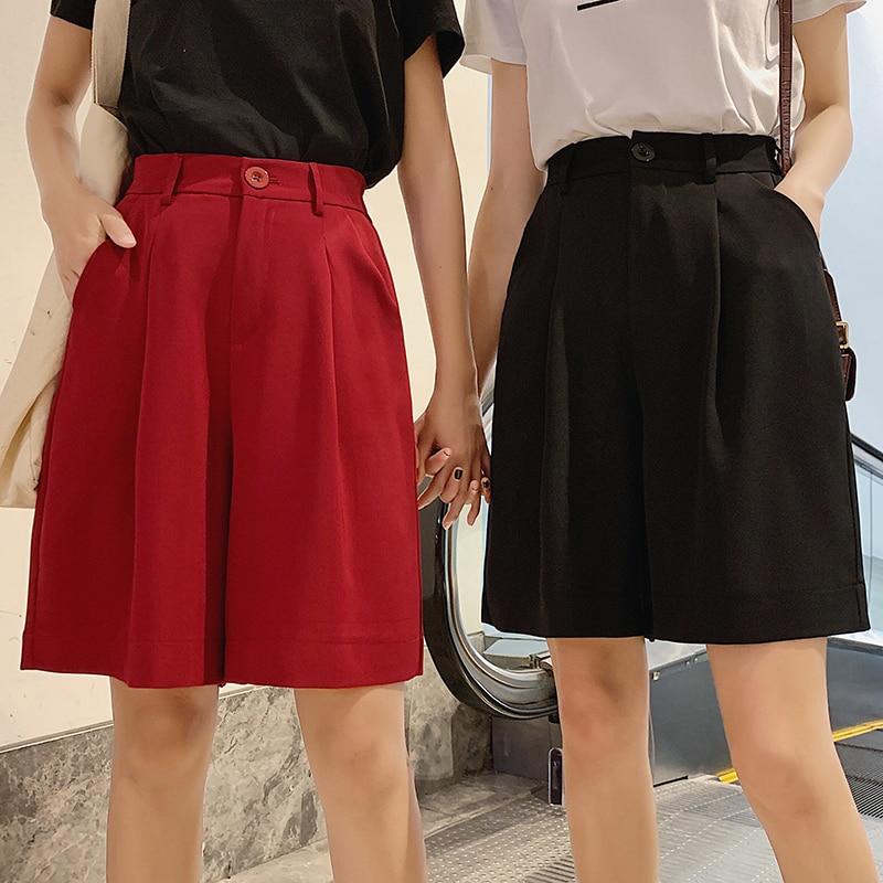 Size XXXL Casual Women Half Length Shorts Summer New Boho Bohemian High Waist Loose Shorts Skirts Female Elegant Wide Leg Shorts