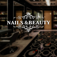 Nail Beauty Shop Sticker Name Scissors Hair Salon Decal Neutral Haircut Poster Vinyl Wall Art Decals