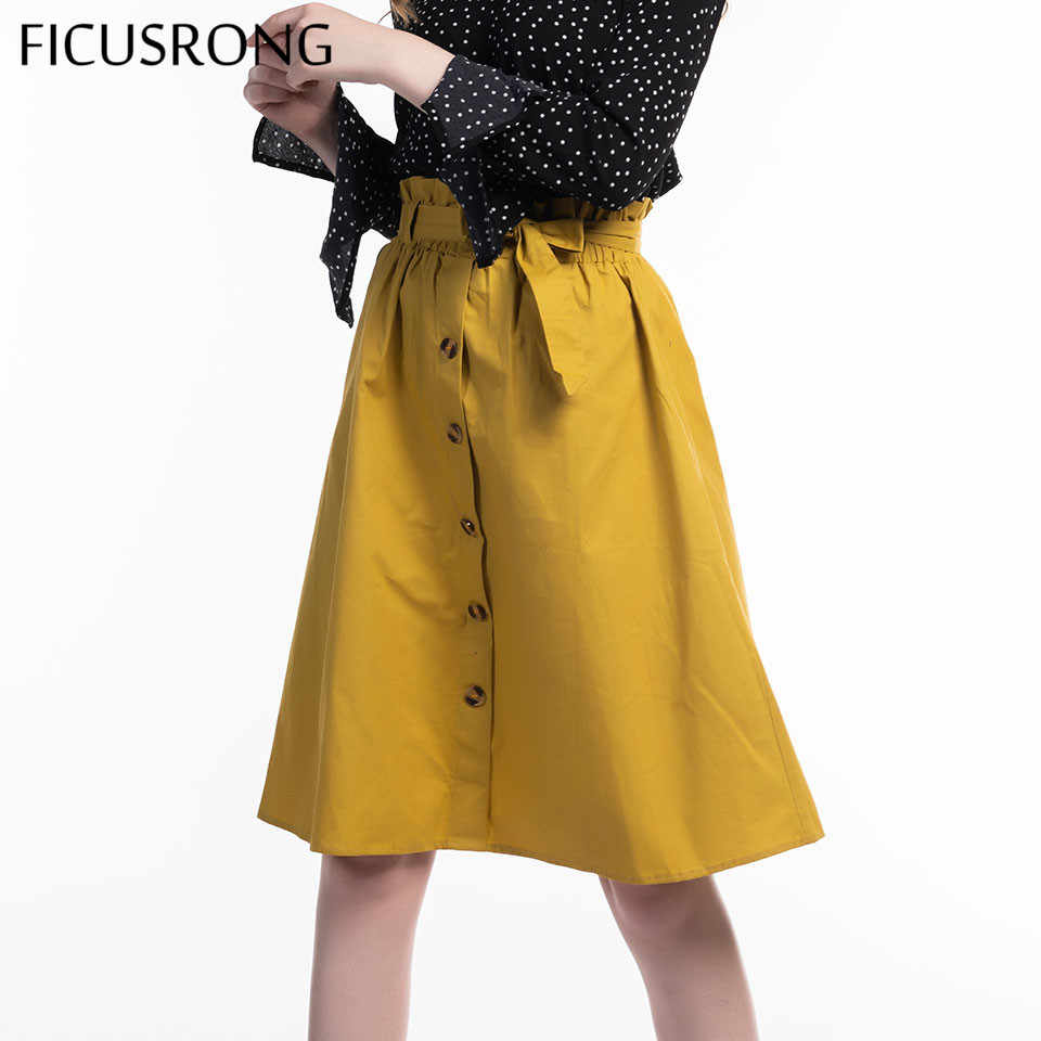 New Solid Bow Belt Autumn Skirts Womens Midi Knee Length Elegant Button High Waist Skirt Female Pleated School Skirt FICUSRONG