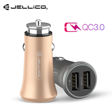 Jellico USB Quick Charge 3 0 Car Charger Mobile Phone Charger 2 Port USB Fast Car Charger for Samsung Xiaomi Tablet Charger note cheap Qualcomm Quick Charge 3 0 RoHS 12-24V 5A Universal 9V-12V 1 5A MQC40 Quick Charge 4 0 Car Charger Fast Charger Car Charger