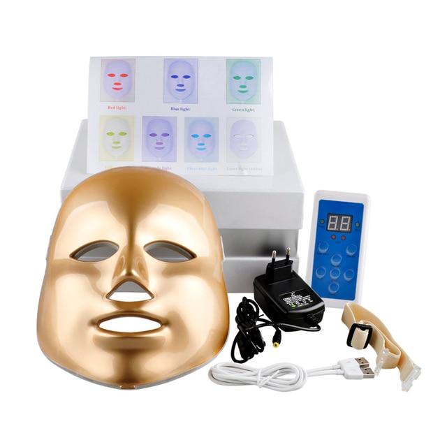Горячая Золото Корейский Фотодинамическая LED Маска Для Лица Домашнего Использования Красоты Инструмент Анти-акне Омоложения Кожи СИД Фотодинамическая