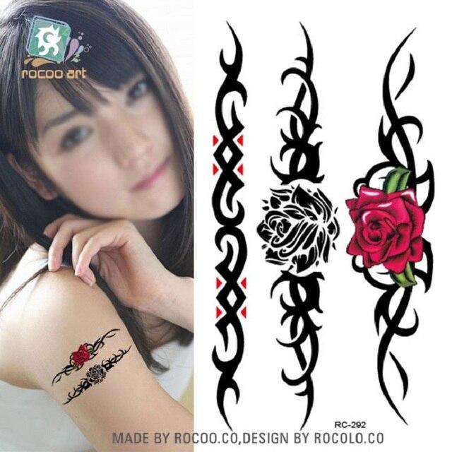 2sheetsRC2292 Waterproof Temporary Tattoo Stickers Water Transfer Tattoo Sticker Fashion Body Art Fake Tattoo Tatuajes Rose Flow
