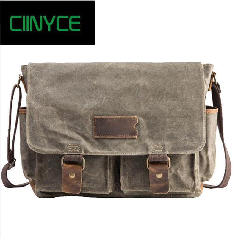 2018 Original Man Vintage Style Canvas and Crazy Horse Nature skin Satchel Solid Single shoulder crossbody men's messenger bags casual style print and canvas design satchel for women