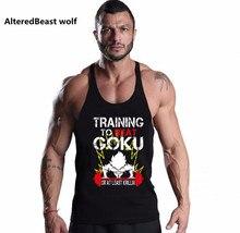 Fitness Men Tank Tops Goku print brand Sleeveless Men Vest clothing Bodybuilding Men o-neck cotton Stringer dragon ball Tank Top
