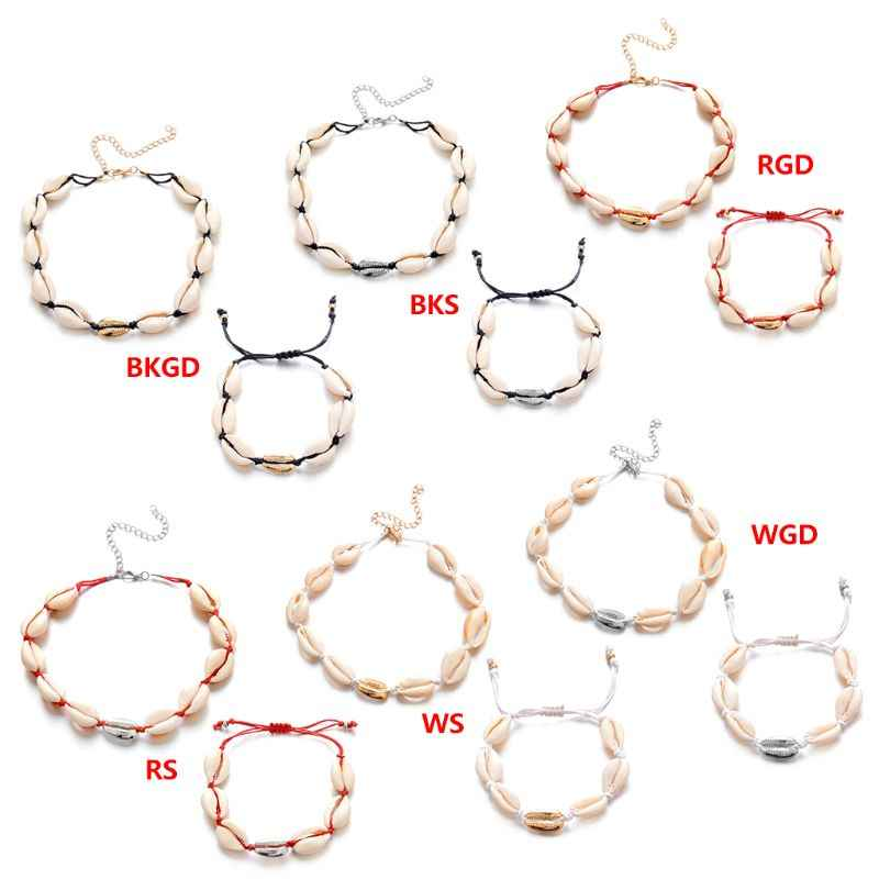1 Set Necklace+Bracelet Summer Shell Beach Jewelry Party Unisex Women Men Charms Bangle Adjustable Braided Rope Natural Fashion