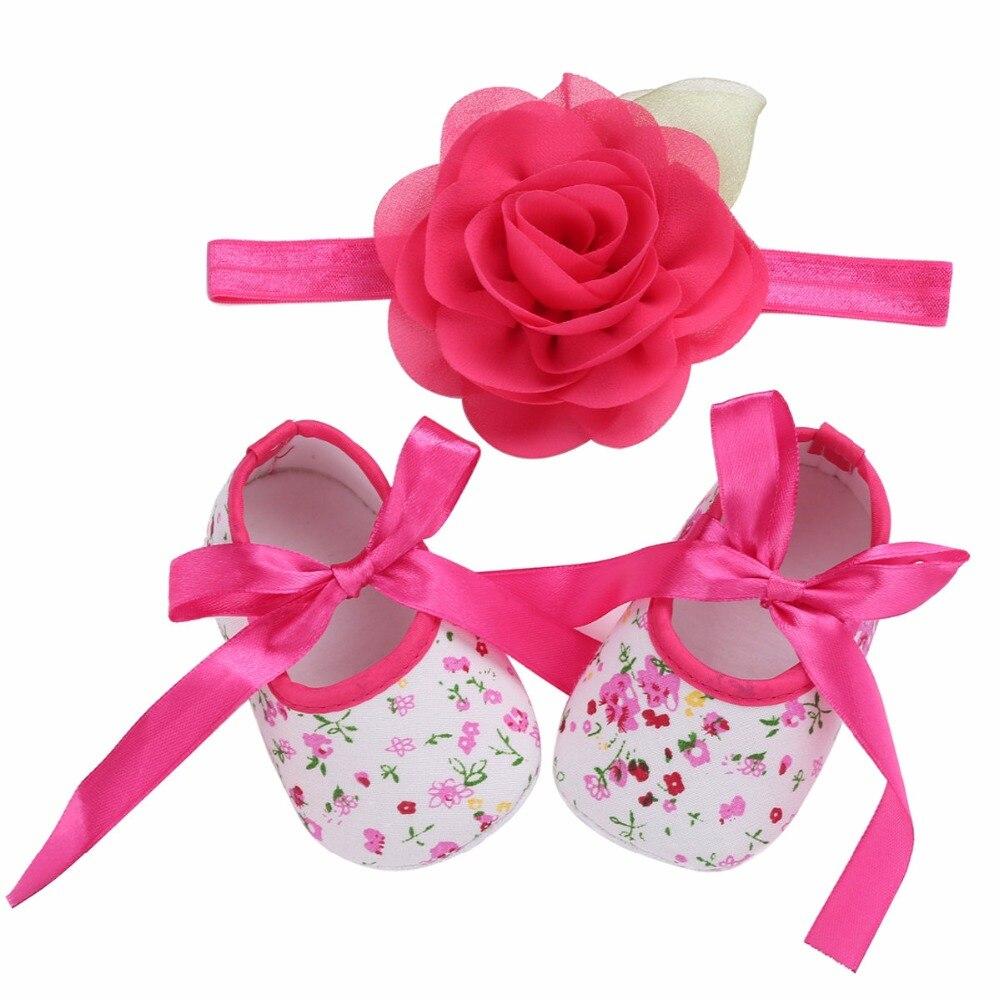 14f8ef3288087 Soft Sole Flower Newborn Baby Girl Christening Shoes Headband Set 2017  Lovely Chaussure Bebe Fille Infantil ...