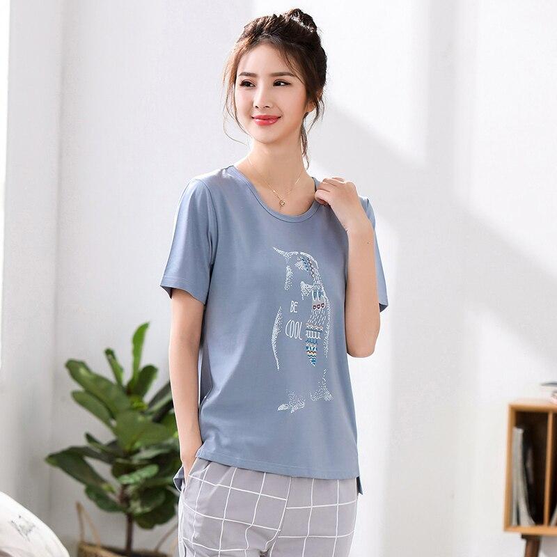 Image 3 - Wiosna lato nowy kobiety piżamy odzież krótkie topy zestaw kobiet piżamy ustawia nocna zestawy piżamy zestawy kobiety Home Wear 5XLZestawy piżam   -