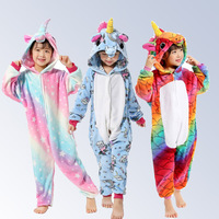 Boys Girls New Flannel Animal Pegasus Unicorn Cosplay Pijamas Onesies Winter Kids Pajamas Stitch Hooded Children Sleepwear