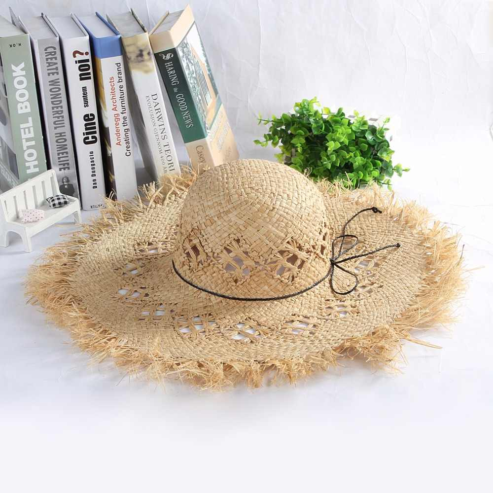 f537fd93188 Detail Feedback Questions about Wide Brim Straw Hats Women Hollow Out Beach  Sunhat Ladies Sun Hat Summer Caps Fluff Floppy Sun Caps sombrero de mujer  on ...