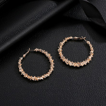 Europe and the United States hot new earrings simple irregular multi-thorn round alloy personality wild