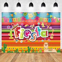 Mehofoto Mexico Theme Backdrop Fiesta Alpaca and Cactus Colorful Photo Booth Birthday Party Banner Photography