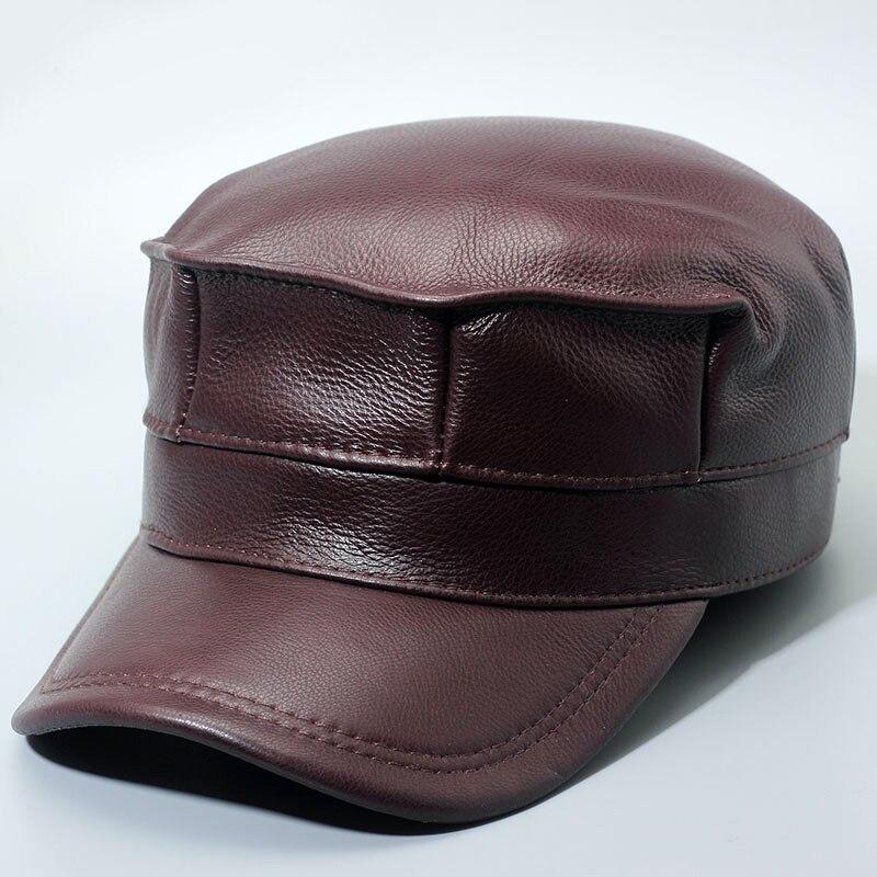 Glaforny en cuir véritable hommes casquette de baseball chapeau tout nouveau hommes en cuir véritable adulte solide réglable armée chapeaux/casquettes
