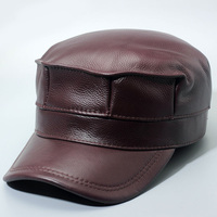 Glaforny genuine leather men baseball cap hat brand new men's real leather adult solid adjustable army hats/caps