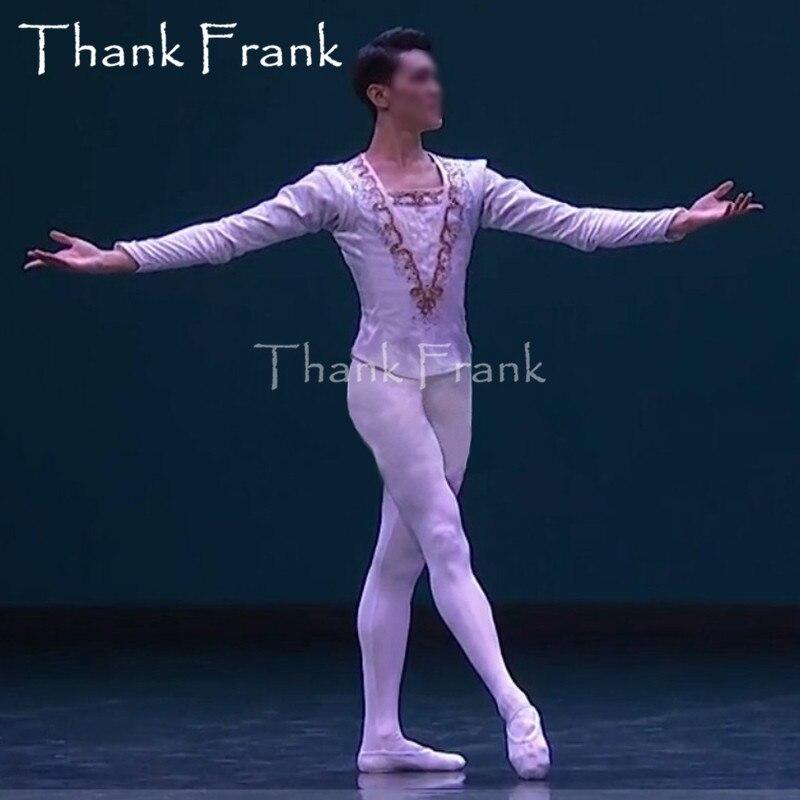 Homme Prince Ballet Top enfant garçons professionnel à manches longues danse Costume personnalisé taille velours adulte hommes scène danse C538