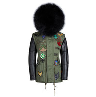 New arrival real fur collar coats fur men leather jacket winter warm leather sleeves lined black fur coat
