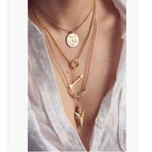 gold color Layered Necklace set wings arrow round Bar Necklace Jewelry For Women Charm Necklace na