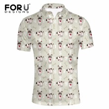 FORUDESIGNS Men's Novelty Many Dogs Printed Polo Shirts Summer Turn Down Collar Breathable Polos For Male Slim Fit Casual Shirts