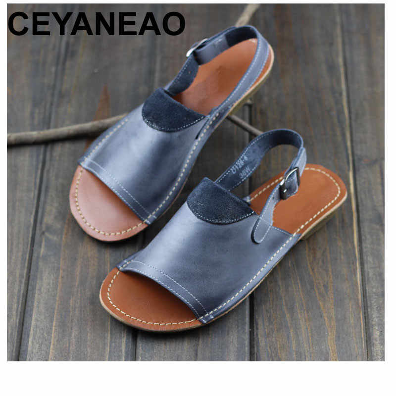 CEYANEAO   Woman Shoes Gladiator Women Sandals Genuine Leather Ladies Summer Shoes Female Footwear (1021-2)