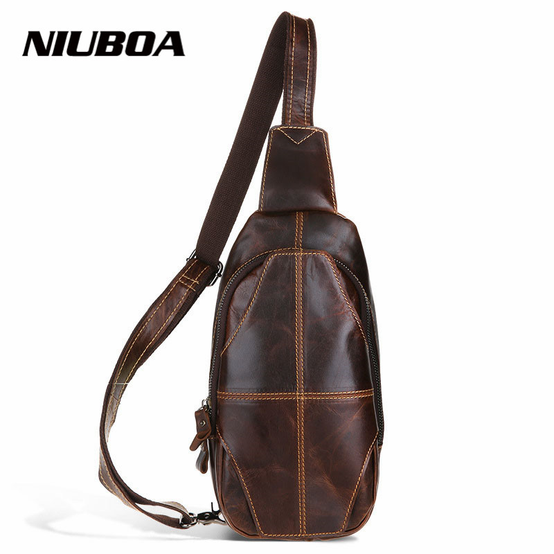 100% Genuine Leather Business Chest Pack Men Outside Crossbody Chest Bag One Shoulder Bags Messenger Bags Handbags
