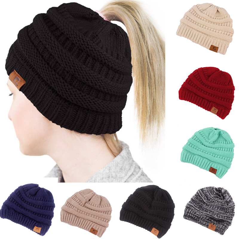 2018 Ponytail   Beanie   Winter Hats for Women Crochet Knit Cap   Skullies     Beanies   Warm Caps Female Knitted Stylish Hat Ladies Fashion