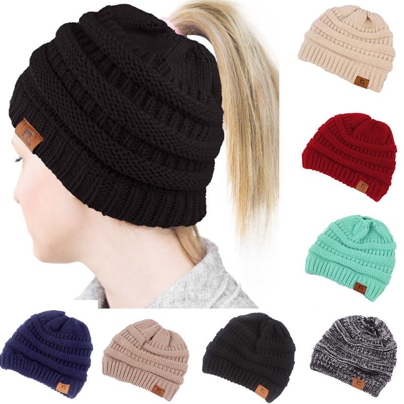2019 Ponytail Beanie Winter Hats for Women Crochet Knit Cap Skullies Beanies Warm Caps Female Knitted Stylish Hat Ladies Fashion