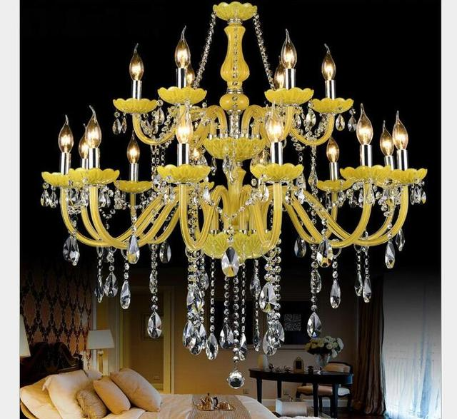 eedf433037 US $172.5 |Free Shipping Yellow Crystal Chandelier Lustre Crystal  Chandelier 18Arms D950mm E14 AC Optional Lustres De Cristal Chandelier-in  Pendant ...