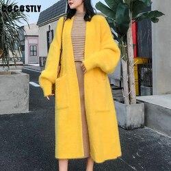 Женский кашемировый кардиган оверсайз, Свободный Повседневный длинный кардиган из норкового кашемира, теплое вязаное пальто для осени и зи...