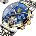 LIGE New Business Design Gold Bezel Waterproof Watch Men Top Brand Luxury Sport Watch Montre Homme Men's Automatic Watch|Mechanical Watches|   -