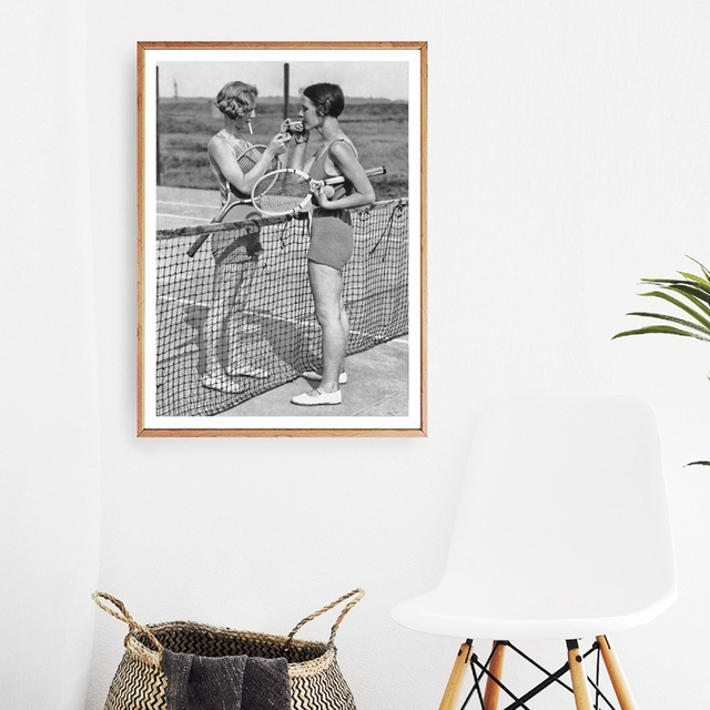 Tennis Poster Canvas Art Print Women Smoking Vintage Photography  1
