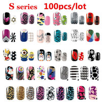 100pcs Sexy Leopard Lips Nail Art Stickers Decals Adhesive Full Nail Wraps DIY Nail Beauty Decoration