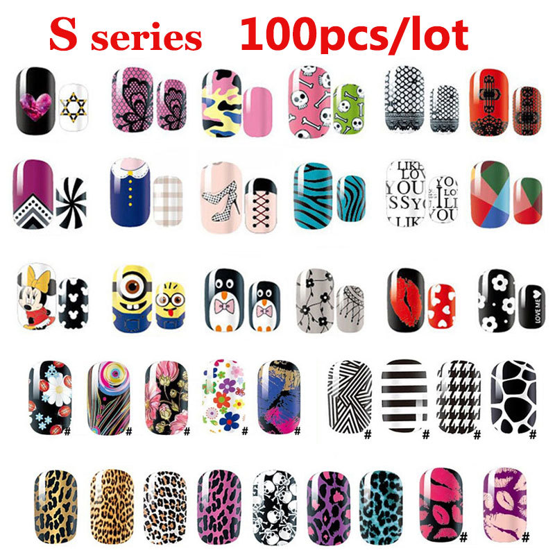 100pcs Sexy Leopard Lips Nail Art Stickers Decals Adhesive Full Nail Wraps DIY Nail Beauty Decoration Wholesale стоимость