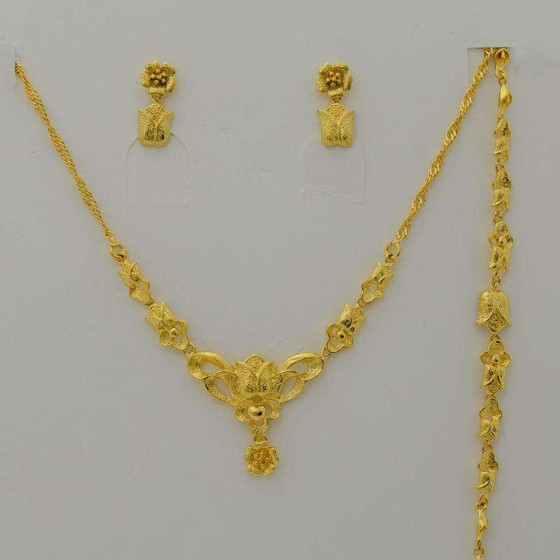 Anniyo Jewelry Set For Women Gold Color Charm Flower Necklace