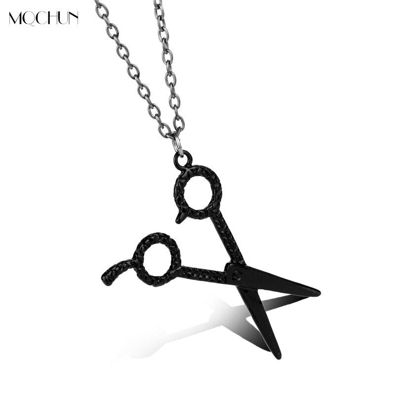 MQCHUN Fashion Jewelry Black Barber Hair Dresser Scissors Shears Punk Style Pendant Necklaces Men Women Hiphop Cosplay Gift