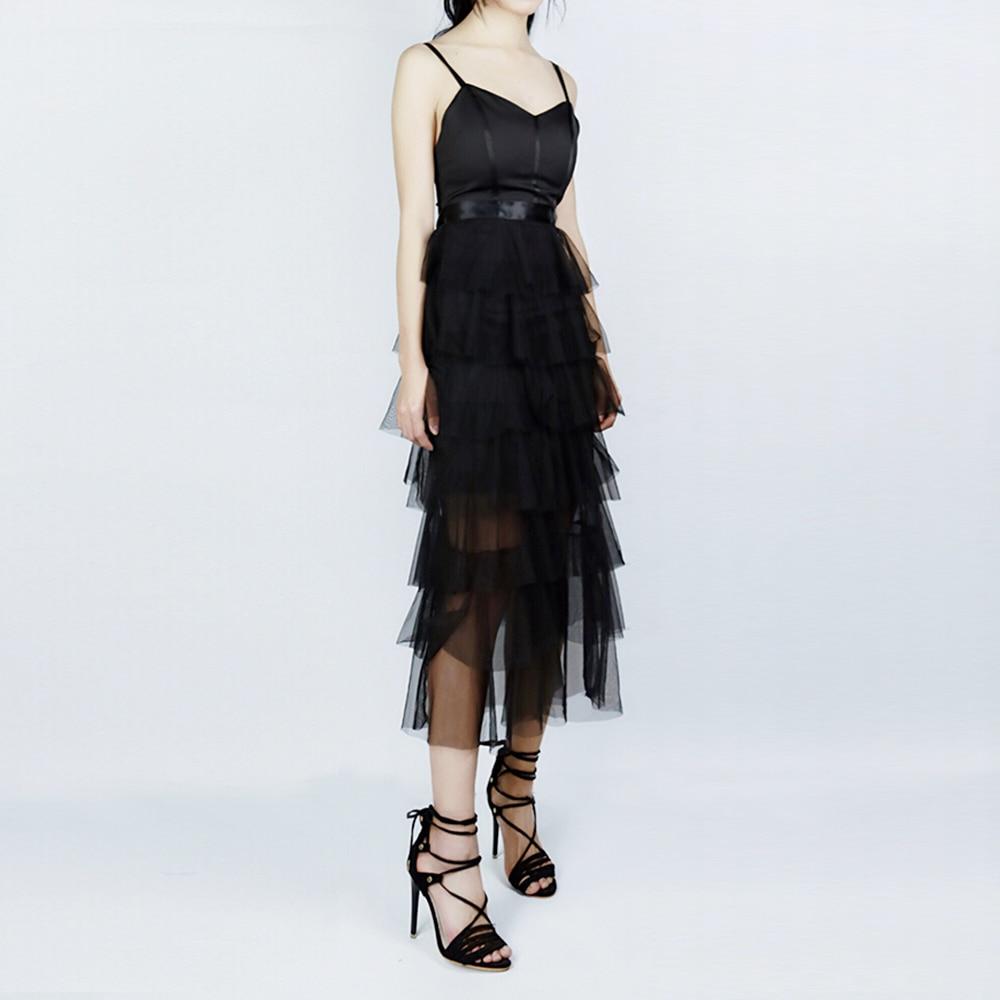 Moda Sexy vestidos de mujer negro espalda descubierta Spaghetti Strap vestidos largos señoras de corte bajo cuello en V vestidos de fiesta de verano nuevos Ins - 2
