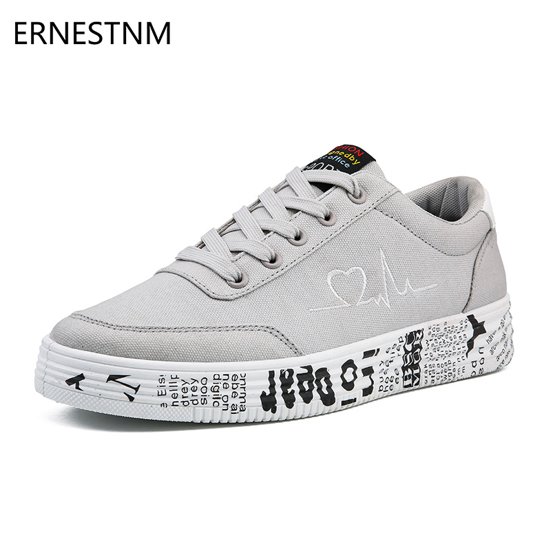 ERNESTNM 2019 Fashion Women Vulcanized Shoes Sneakers Ladies Lace-up Casual Shoes Breathable Canvas Lover Shoes Graffiti Flat
