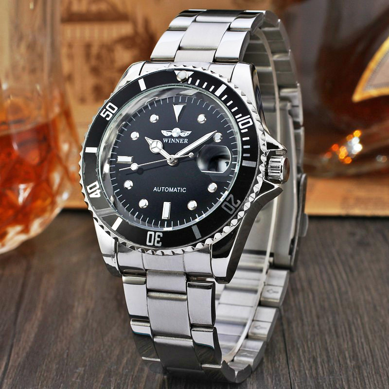 WINNER Watches Bezel Dial Automatic Mechanical Watch Male Stainless Steel Leather Band Men Wristwatch Clock Relogio Masculino new binkada men s automatic mechanical watches black dial stainless steel strap hand wind male wristwatch relogio masculino
